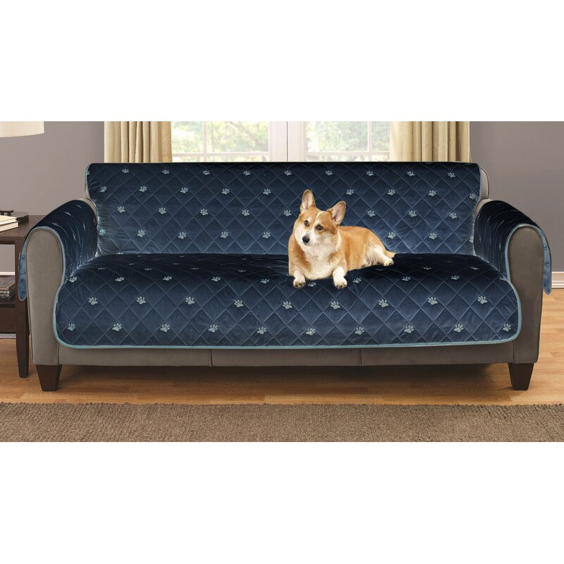 Sofa Embroidered Furniture Pet Protector With Non Slip Backing
