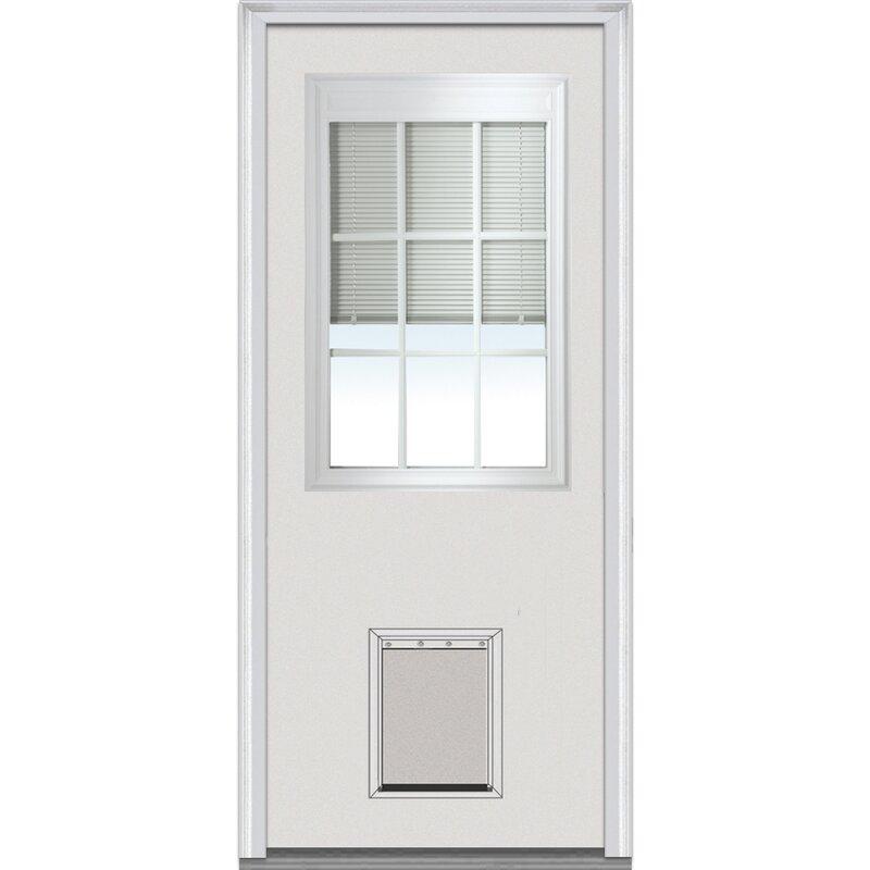 Verona Home Design Pet Door Primed Steel Prehung Front Entry Doors