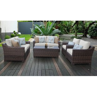 Kathy Ireland Homes Gardens River Brook 7 Piece Outdoor Wicker Patio Furniture Set 07e