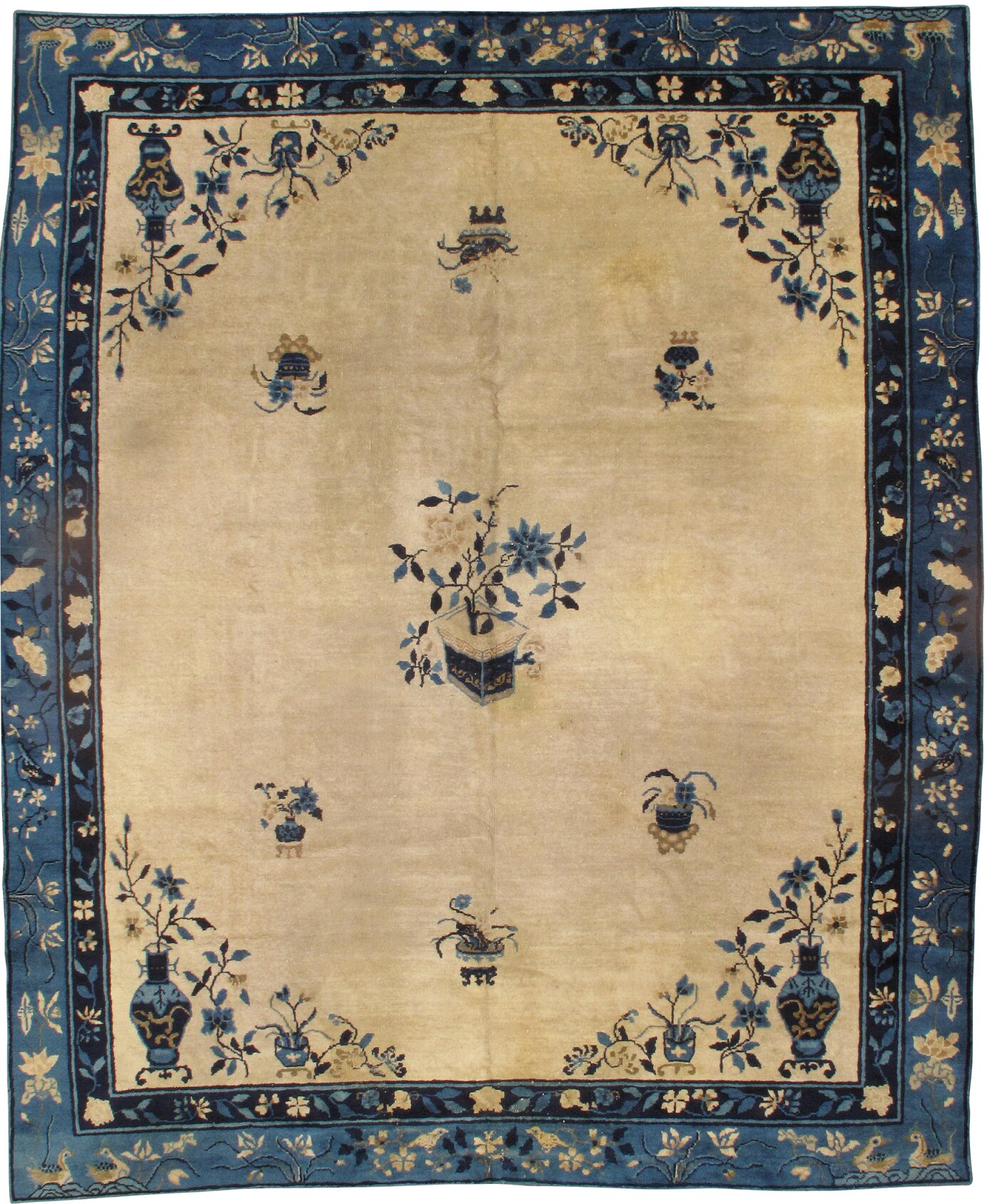 Pasargad Ny Chinese Peking Hand Knotted Wool Ivory Blue Area Rug