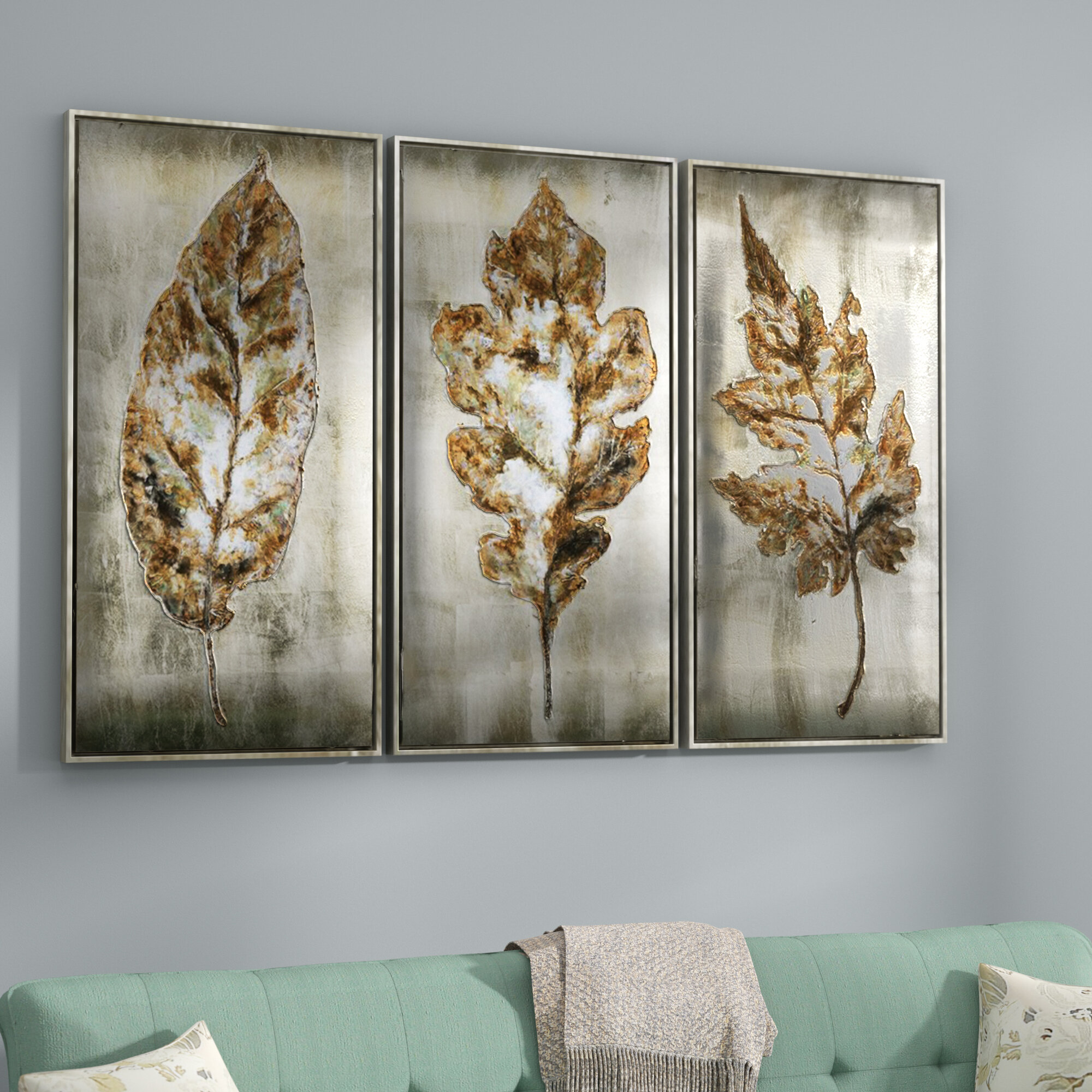 Darby home co leaves modern 3 piece framed painting set reviews wayfair