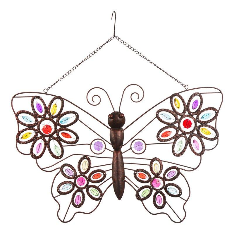 Iron Boho Beaded Butterfly Wall Décor