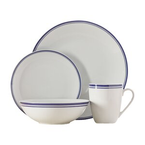 Wayfair Basics 16 Piece Striped Porcelain Dinnerware Set, Service for 4