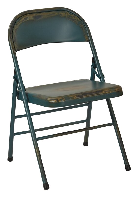 Bristow Antique Finish Folding Chair with Metal Seat and Back - OSP Designs Bristow Antique Finish Folding Chair With Metal Seat And