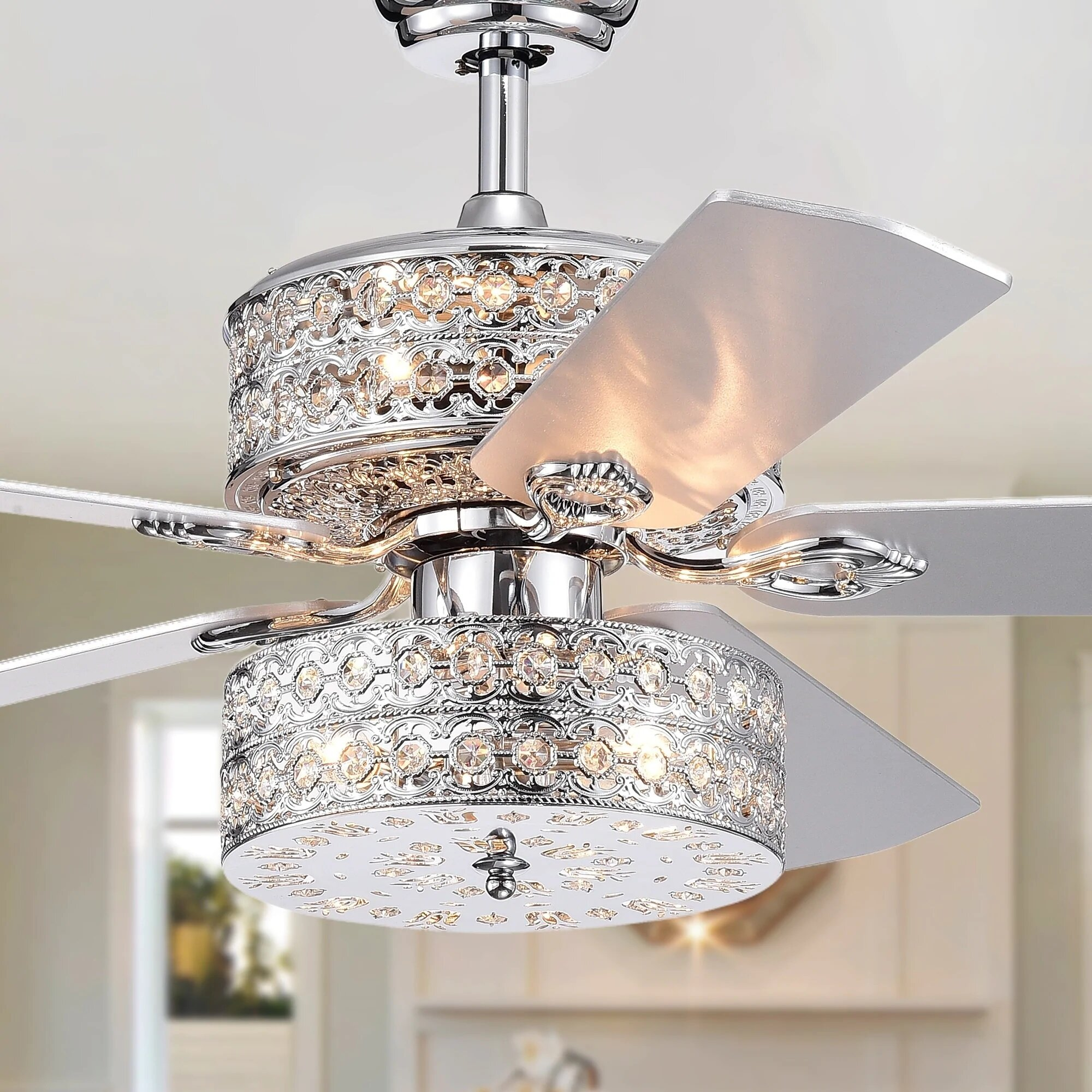 52 parma chandelier 5 blade ceiling fan with remote