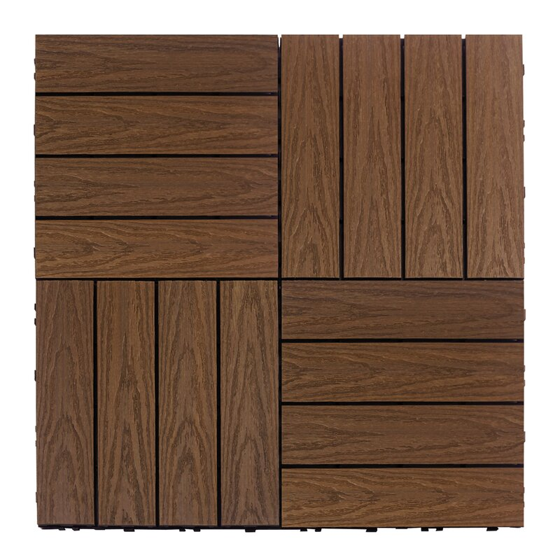 Naturale composite 12 x 12 interlocking deck tiles in brazilian ipe