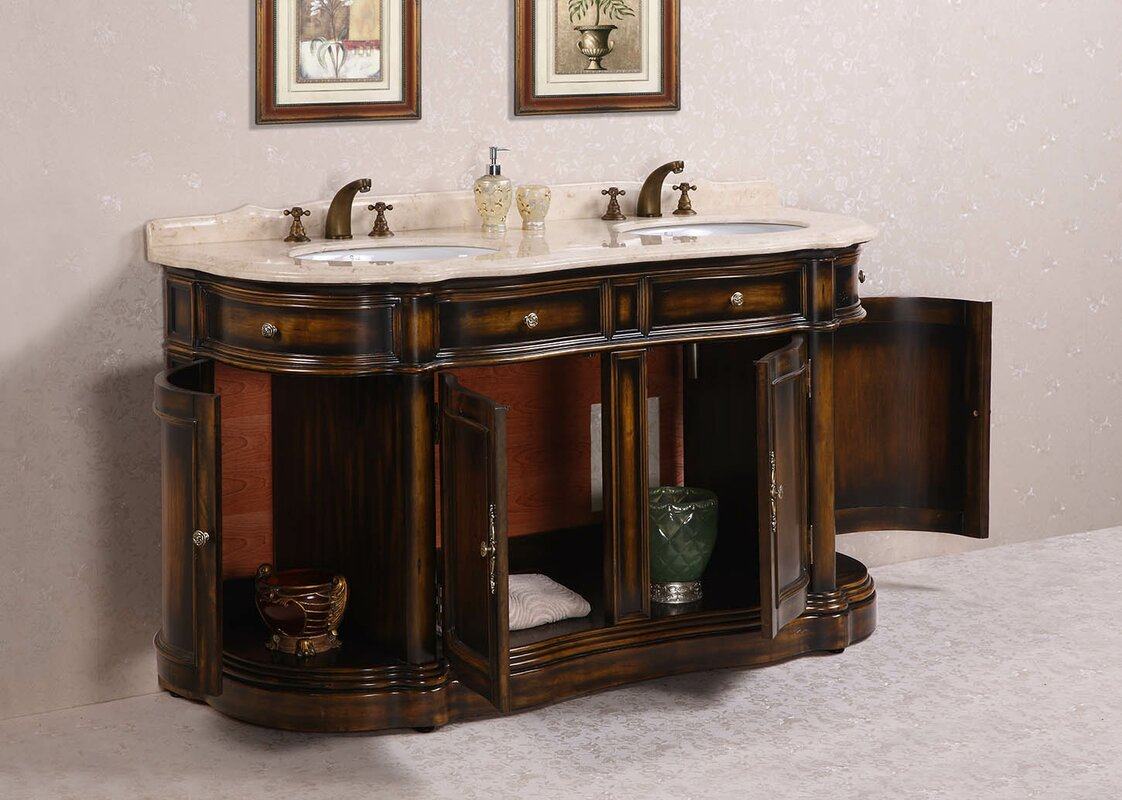 Legion Furniture  Double Bathroom Vanity Set Wayfair - 66 double sink bathroom vanity