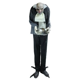 motion activated lighted standing man holding a tray animated halloween decoration with sound