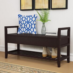 Jacquelyn Espresso Storage Shoe Bench