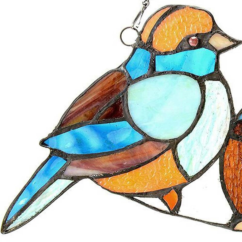 August Grove Song Bird Tiffany Style Stained Glass Window Panel