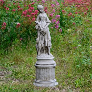 Genial 2 Piece Shepherdess On Column Stone Garden Statue Set (Set Of 2)