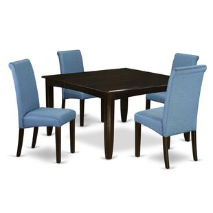 Lexie Square Kitchen Table 5 Piece Extendable Solid Wood Dining Set
