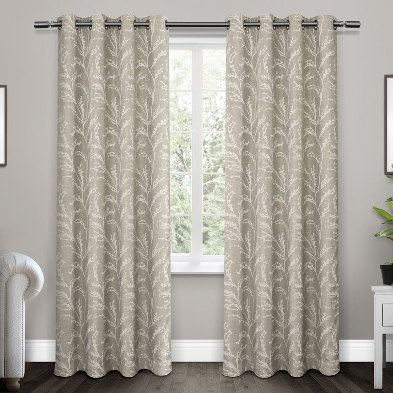 Baillons Nature/Floral Blackout Thermal Grommet Curtain Panels