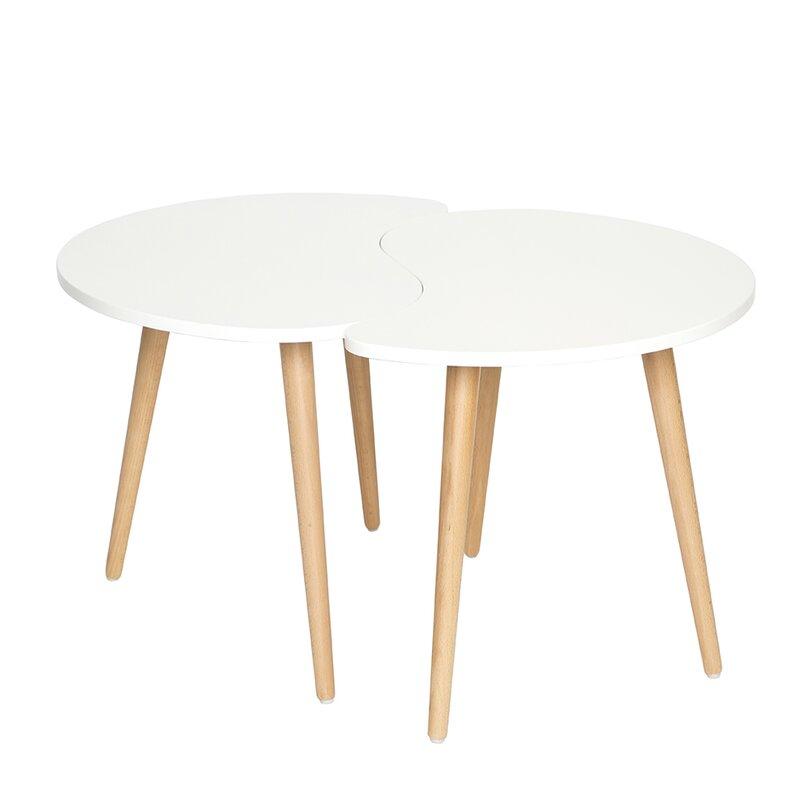 Superior Mid Century Modern 2 Piece Coffee Table Set