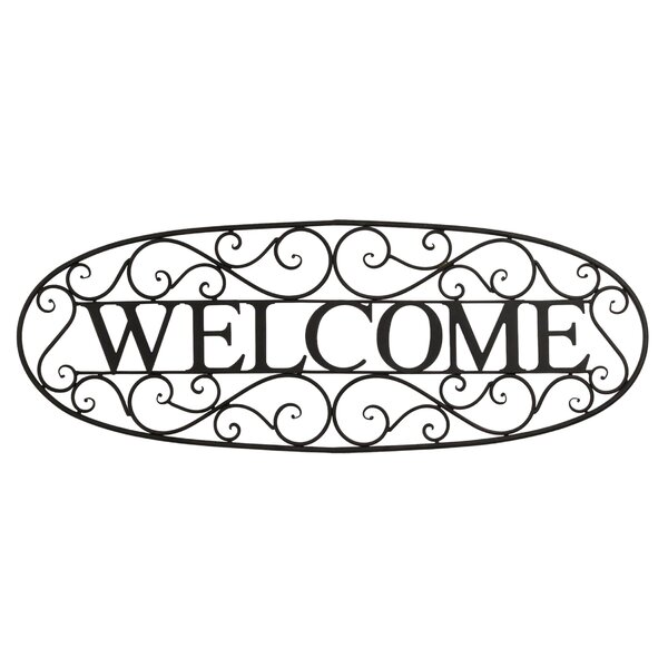 Welcome Wall Decor bayaccents welcome sign wrought iron wall décor & reviews | wayfair