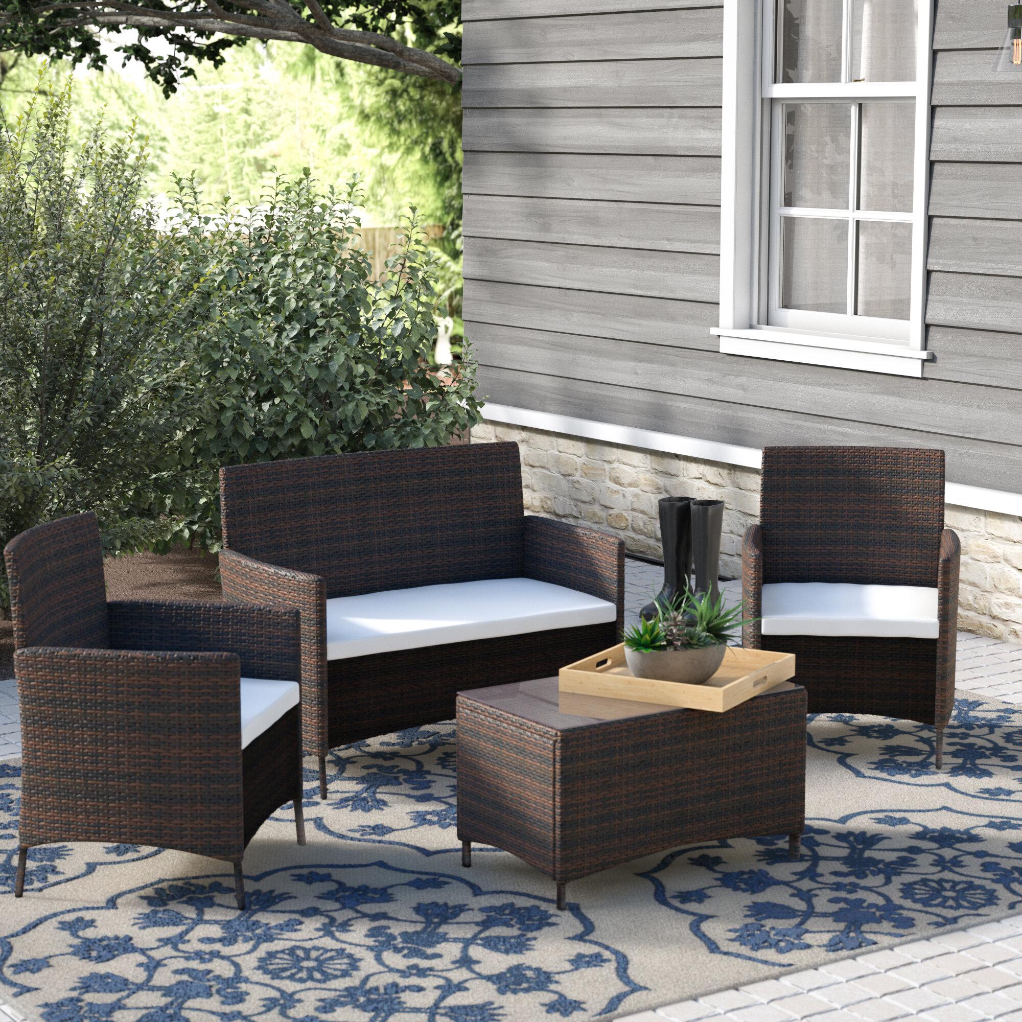 Merax 4 Piece Rattan Sofa Seating Group With Cushions Reviews Wayfair