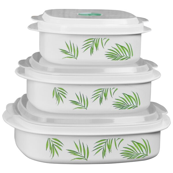 Corelle Bamboo Leaf Microwave Cookware 3 Container Food
