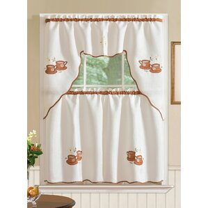 Awesome Mayer Coffee 3 Piece Kitchen Curtain Set