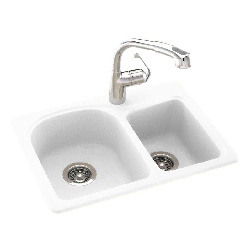 "swan surfaces 25"" x 18"" double basin drop-in/undermount kitchen sink"