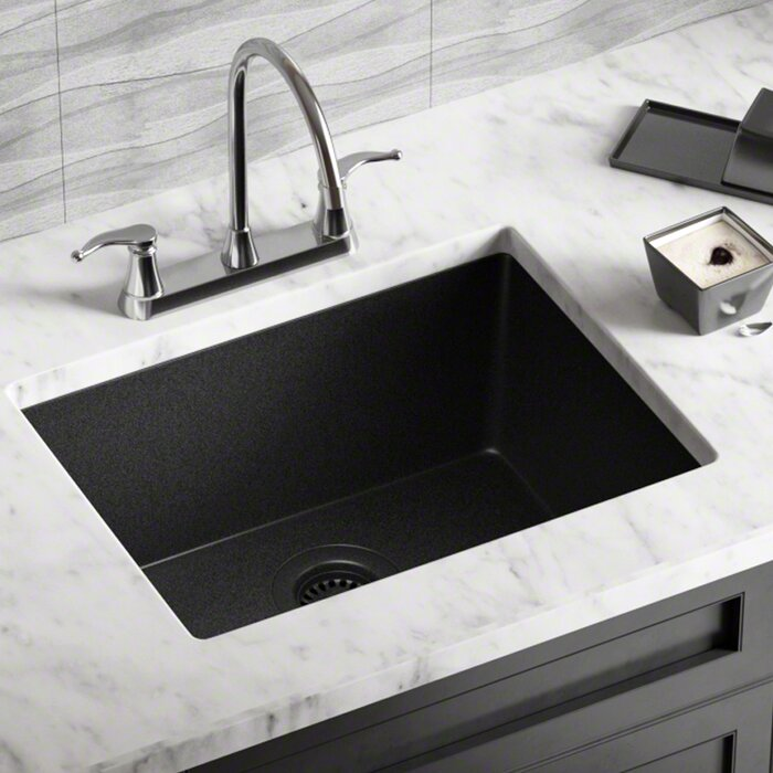 Granite Composite 22 L X 17 W Undermount Kitchen Sink With Strainer
