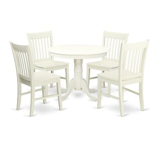 Stalham 5 Piece Breakfast Nook Solid Wood Dining Set