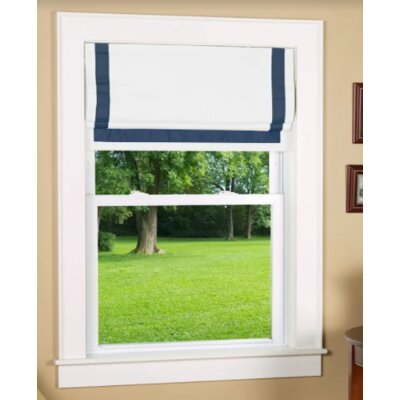 Beachcrest Home Indoor Cordless Blackout Roman Shade Color: Navy/White, Size: 38 W x 64 L