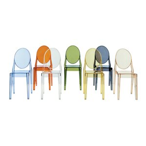 Victoria Ghost Stacking Patio Dining Chair (Set of 2) by Kartell