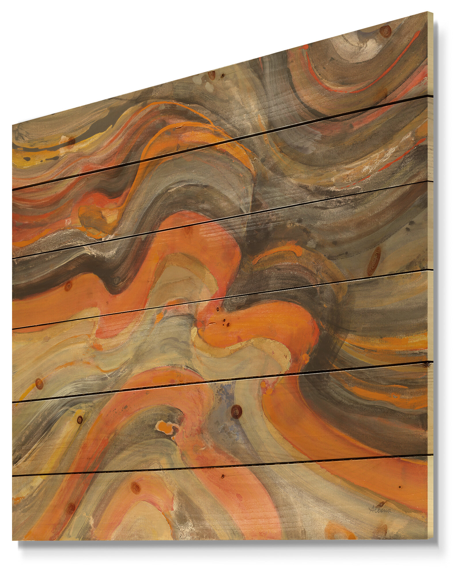 Contemporary Abstract Gilded Waves Print On Wood