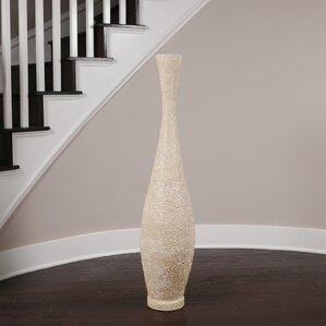 embossed trumpet floor vase