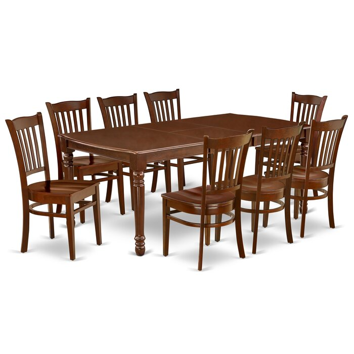 Astounding Christi 9Pc Rectangular 60 78 Inch Dining Room Table And 8 Wood Seat Chairs Bralicious Painted Fabric Chair Ideas Braliciousco