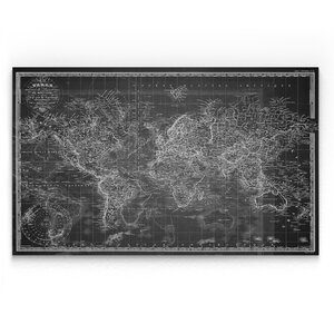 'Vintage Wold Map V' Graphic Art Print on Wrapped Canvas in Gray