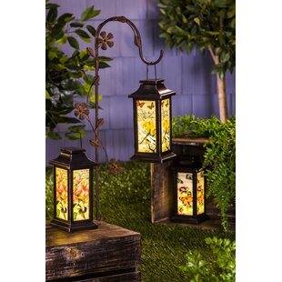 Attirant Fluttering Garden Friends Glass Lantern Set (Set Of 3)