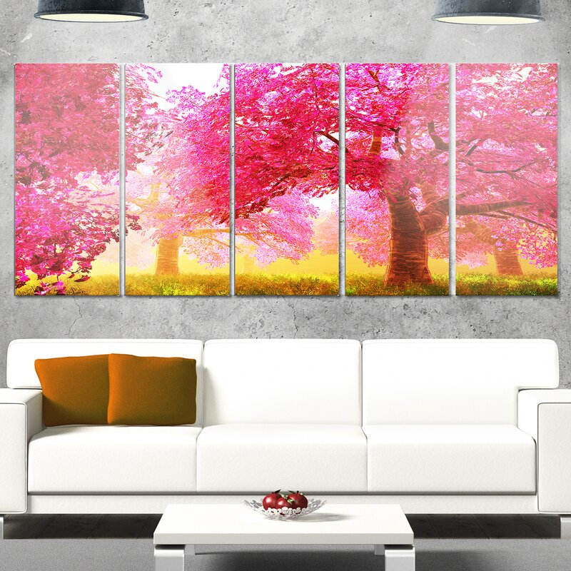 DesignArt \'Mysterious Red Cherry Blossoms\' 5 Piece Photographic ...