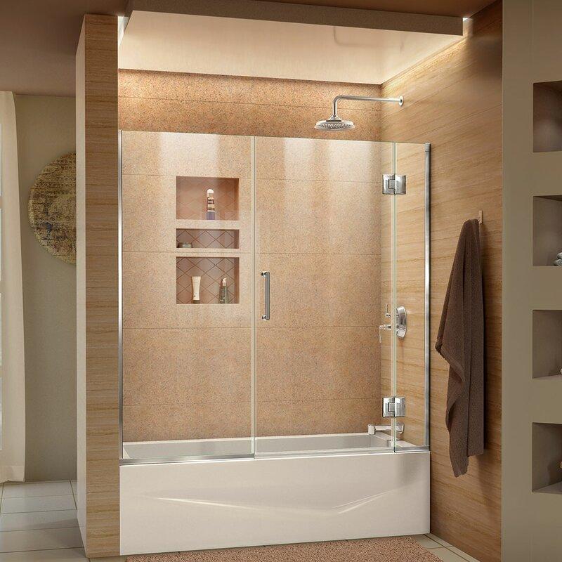 bathroom shower doors. Unidoor X 58  x Hinged Frameless Tub Door with ClearMax Technology Shower Bathtub Doors You ll Love Wayfair