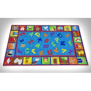 Bible Sunday School with ABCs Blue Area Rug