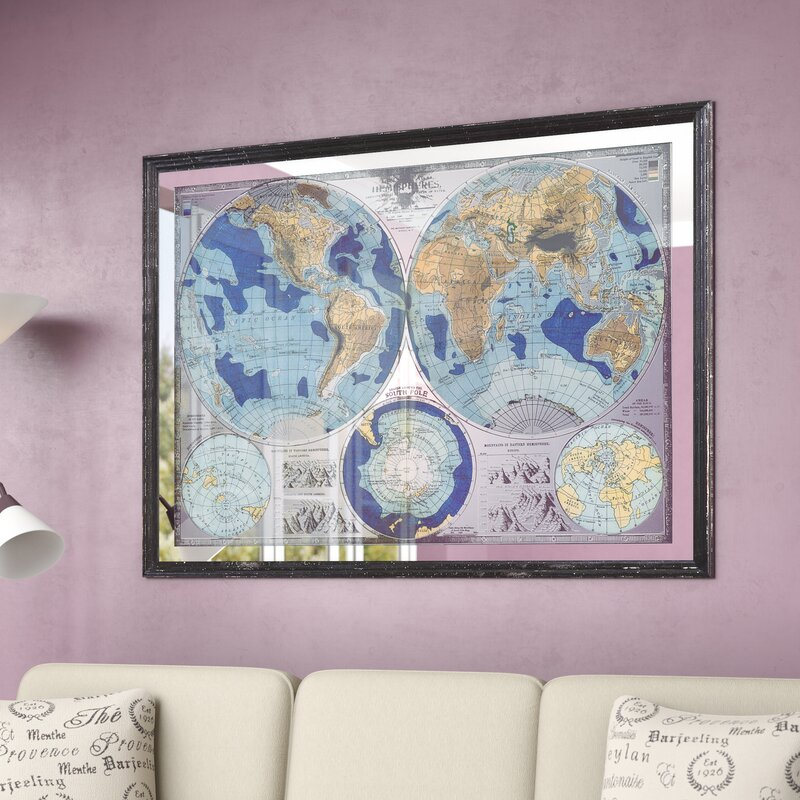 fc2b191ac Darby Home Co Mirrored World Map Framed Graphic Art & Reviews | Wayfair