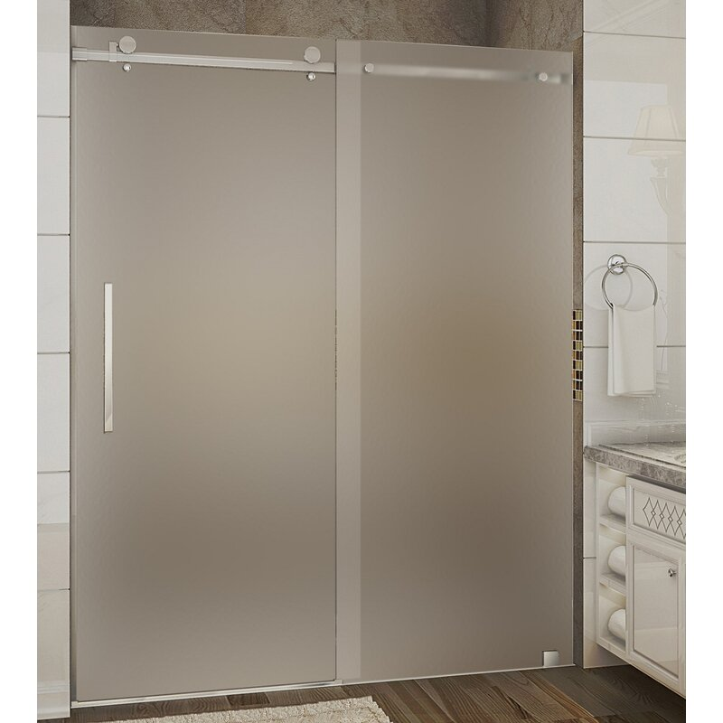 Aston Moselle 60 X 75 Single Sliding Frameless Shower Door Wayfair
