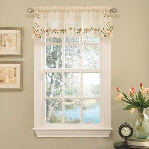 Old World Style Floral Embroidered Semi-Sheer Curtain Valance