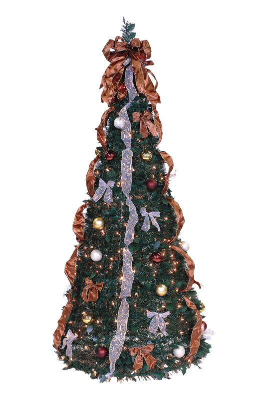 pop up 6 green artificial christmas tree with 350 lights - Fully Decorated Christmas Trees For Sale