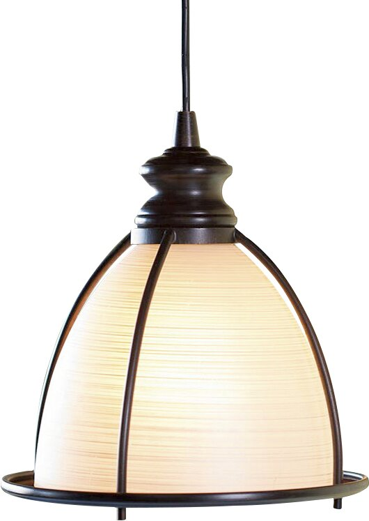 Screw-In Brushed Bronze and Glass Cage Pendant Light - Plow & Hearth Screw-In Brushed Bronze And Glass Cage Pendant Light