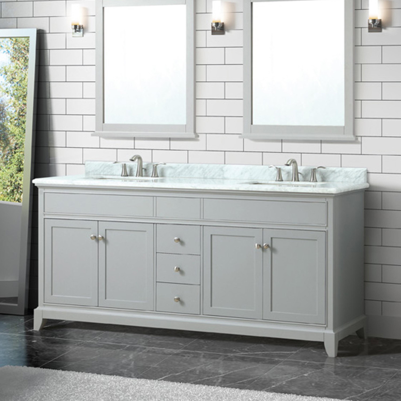 Red barrel studio bhushan marble top 73 double bathroom vanity set wayfair