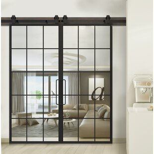 Mountain Glass Barn Door with Installation Hardware Kit & Barn Doors Youu0027ll Love | Wayfair