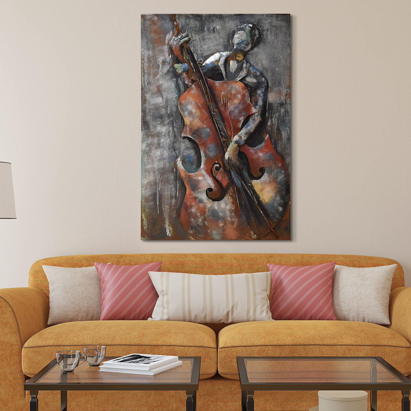 empire art direct the bassist mixed media iron hand painted