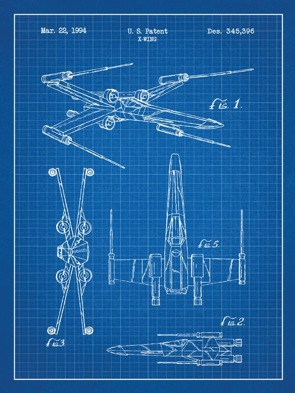 Williston forge star wars x wing 2 blueprint graphic art in blue star wars x wing 2 blueprint graphic art in blue gridwhite malvernweather Image collections