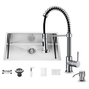 30 inch Undermount Single Bowl 16 Gauge Stainless Steel Kitchen Sink with Edison Chrome Faucet, Grid, Strainer, Colander and Soap Dispenser