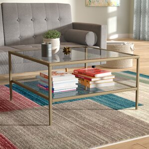 Fallis Square Metal/Glass Open Shelf Coffee Table by Ivy Bronx