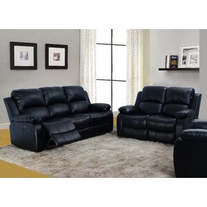 Maumee 2 Piece Leather Living Room Set Black Sets You ll Love  Wayfair