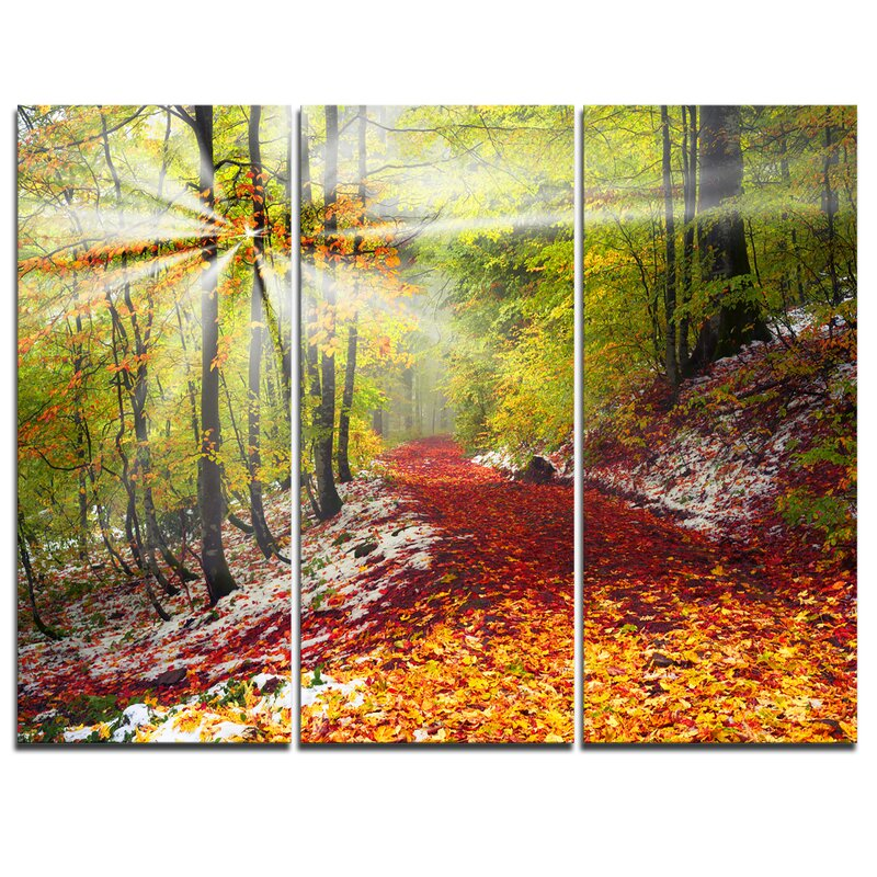DesignArt Bright Colorful Alpine Forest - 3 Piece Wall Art on ...