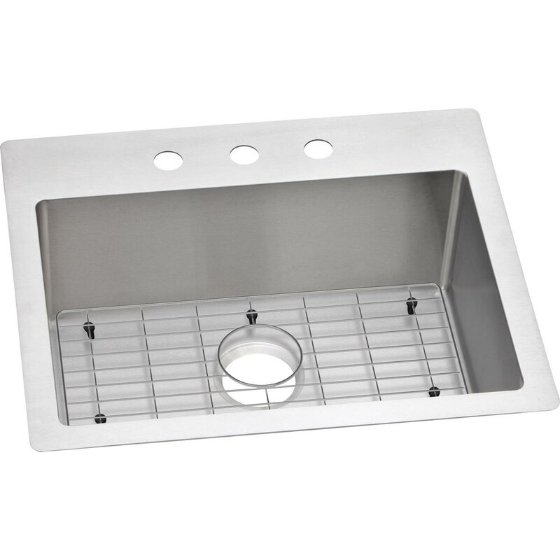 Ectsr25229bg3 Crosstown 25 L X 22 W Dual Mount Kitchen Sink And Basin Rack With Grid