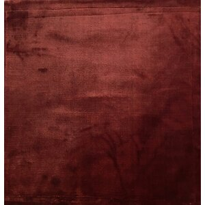Plain, Art Silk, Dark Red (3' Square) Rug